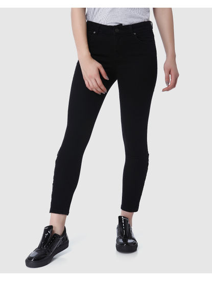 Black Mid Rise Lace Up Ankle Length Skinny Jeans