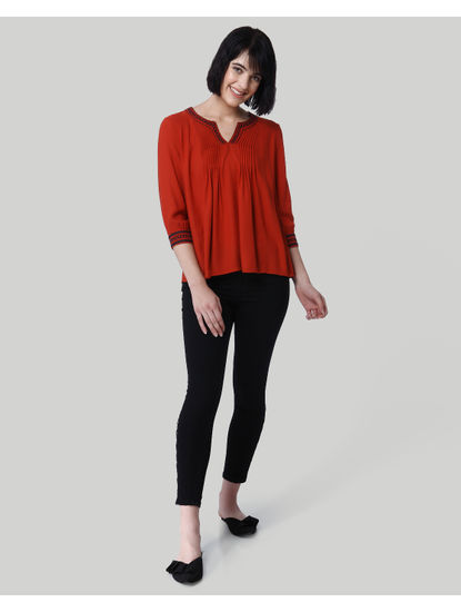 Red Embroidered Detail Top