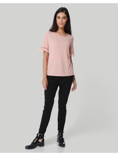 Pale Pink Crochet Detail Sleeves Top