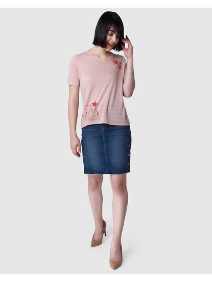 Pink Striped Slogan Print T-Shirt