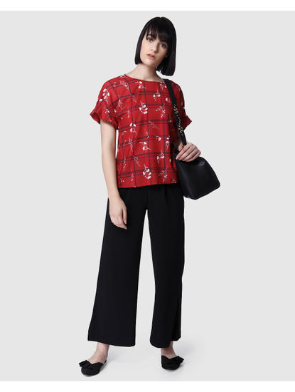 Red Floral Print Check Top