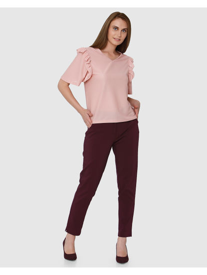 Pink V-Neck Short Sleeves Top