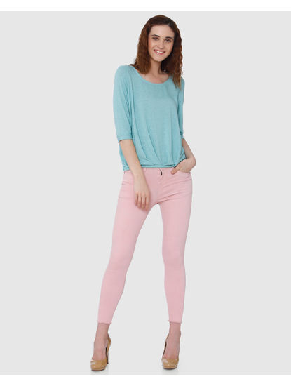 Sea Green Fold Up Hem Top