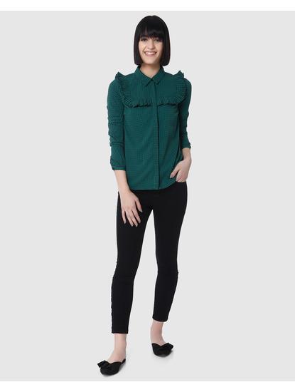 Green Ruffle Detail Houndstooth Shirt