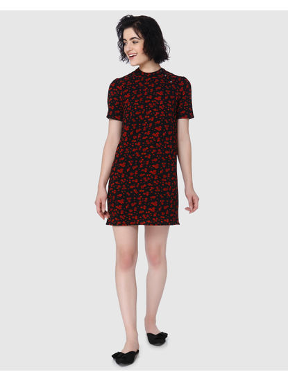 Black All Over Floral Printed Shift Dress