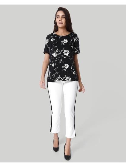 Black & White Floral Print Top