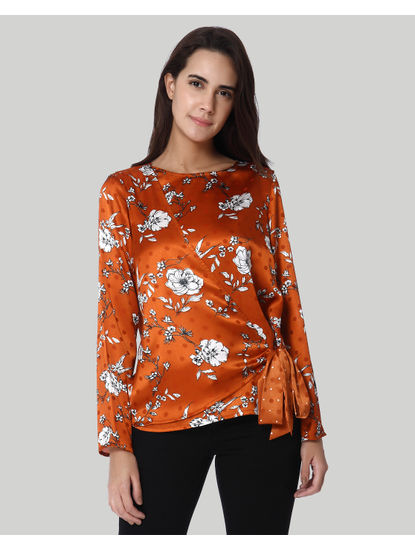 Brown Floral Print Wrap Satin Top