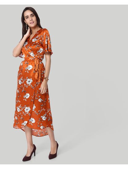 Brown Floral Print Wrap Maxi Dress