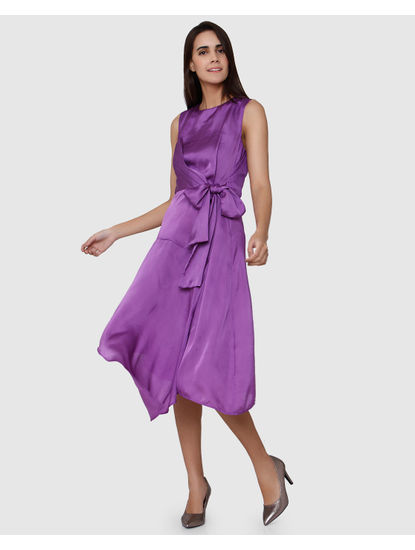 Purple Sleeveless Front Knot Midi Dress