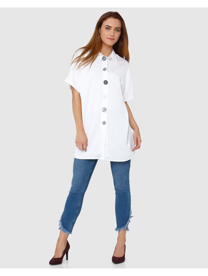 White Big Button Detail Tunic