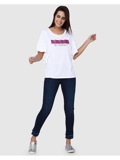 White Shimmer & Text Detail Ruffle T-Shirt