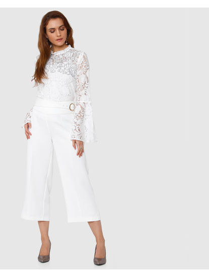 White Front Tie Culottes
