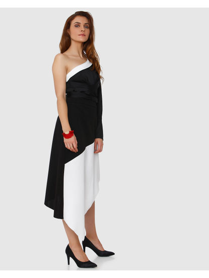 Black Colourblocked Asymetric Midi Skirt