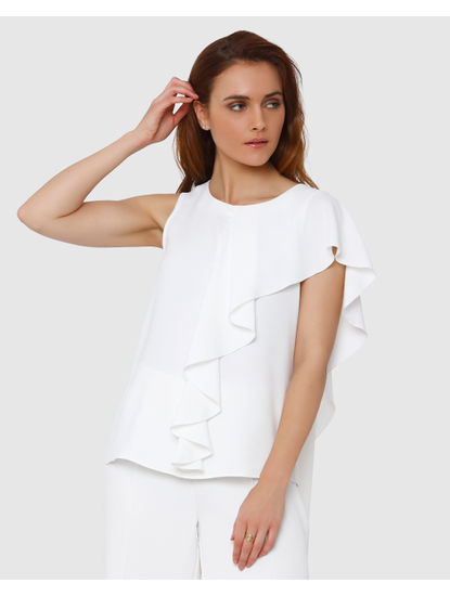 White Asymetric Flounce Top