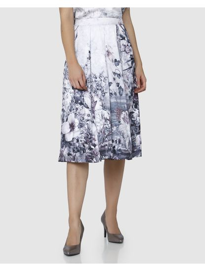 White High Waist Floral Printed Pleated Skirt
