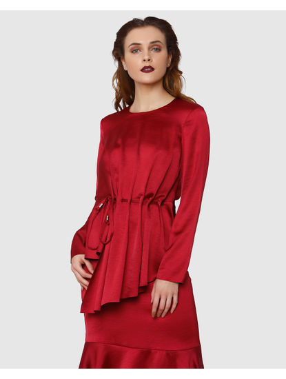 Red Pleated Long Sleeves Top