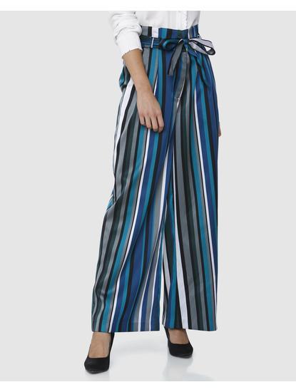 Blue Striped Paper Bag Waist Pants