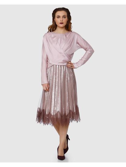 Pink Wrap Long Sleeves Top