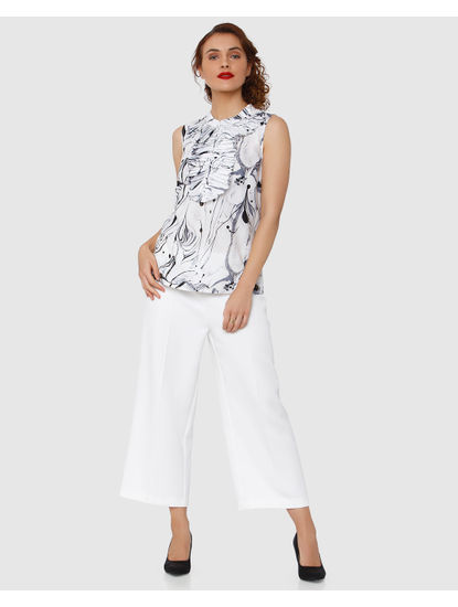 White Marble Print Textured Pleated Trim Top