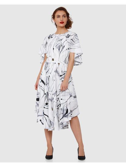 White Printed Cape Sleeves Midi Dress