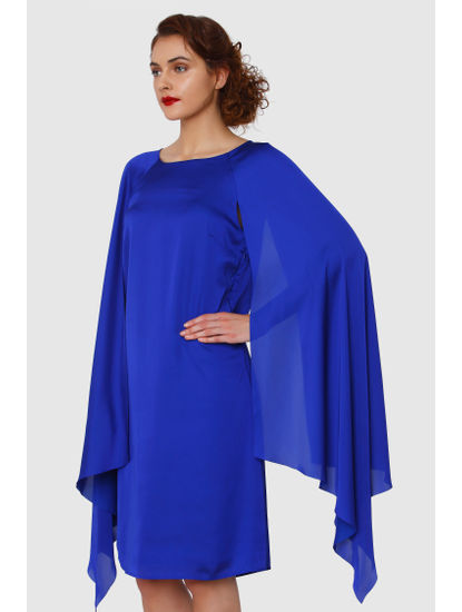 Electric Blue Cape Sleeves Shift Dress