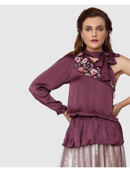 Burgundy Embroidered One Shoulder Tie-Up Top