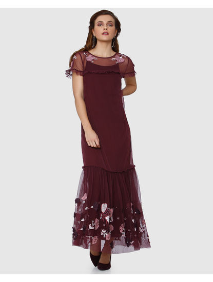 Burgundy Floral Embroidered Net Maxi Dress