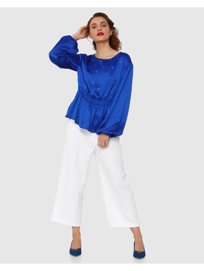 Electric Blue Pearl Embellished Peplum Top