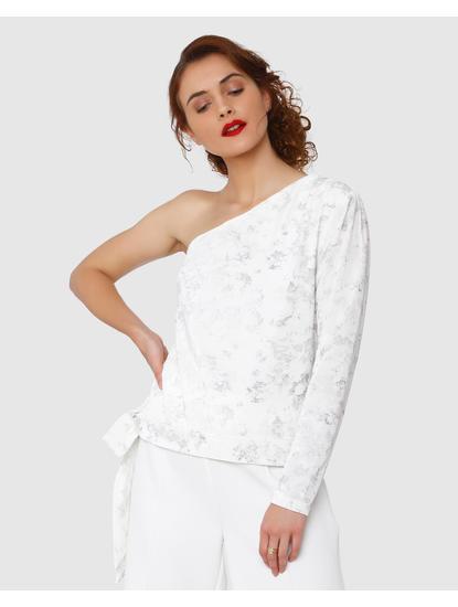 White Printed One Shoulder Velvet Top