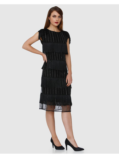 Black Fringe Flounce Shimmer Shift Dress