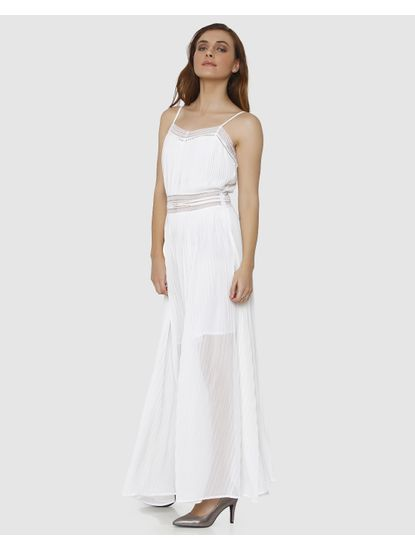 White Spaghetti Strap Lace Detail Maxi Dress