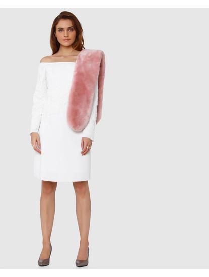 White Cord Applique Off Shoulder Shift Dress