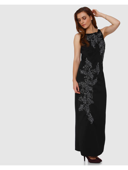 Black Contrast Cord Applique Maxi Dress