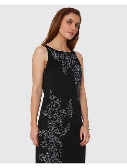 Black Contrast Cord Applique Maxi Dress