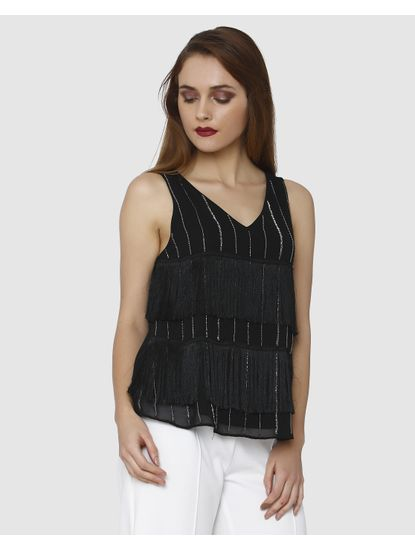 Black Embroidered Fringe Sleeveless Top