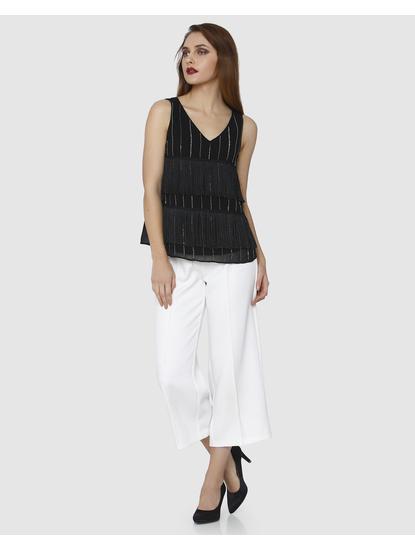 Black Embroidered Fringe Sleeveless Top