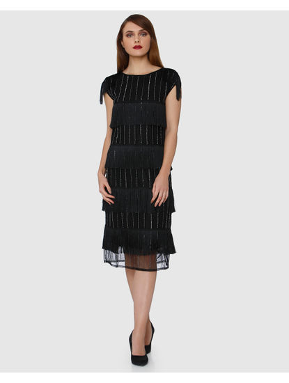 Black Embroidered Fringe Detail Shift Dress