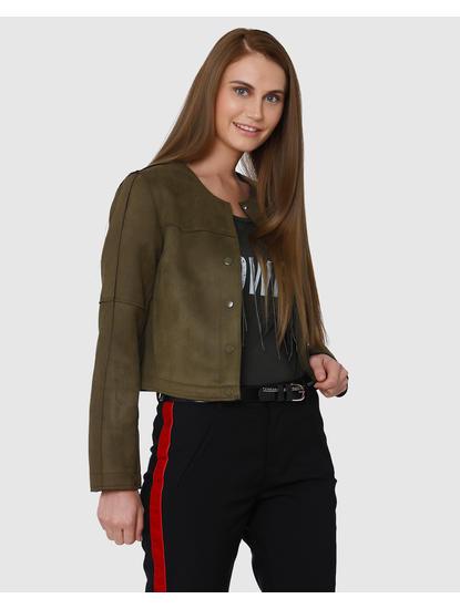 Green Collarless Short Long Sleeves Jacket