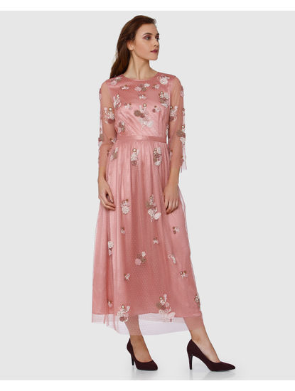Pink Floral Embroidered Net Maxi Dress