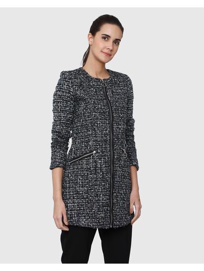 Black Textured Tweed Long Jacket