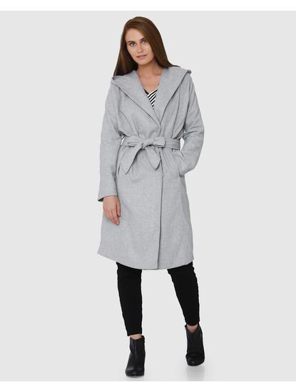 Grey Front Tie Wide Collar Midi Hooded Coat