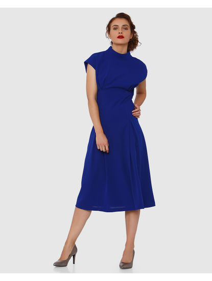 Blue Back Cut Out Detail Midi Dress