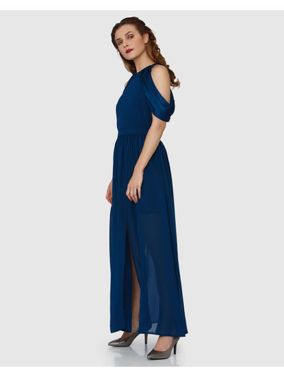 Blue Cowl Neck Cold Shoulder Maxi Dress
