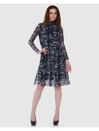 Black Printed Mesh Detail Shift Dress