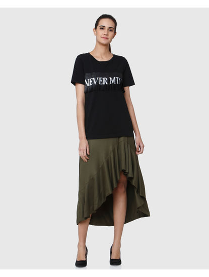 Black Never Mind Text Print T-shirt
