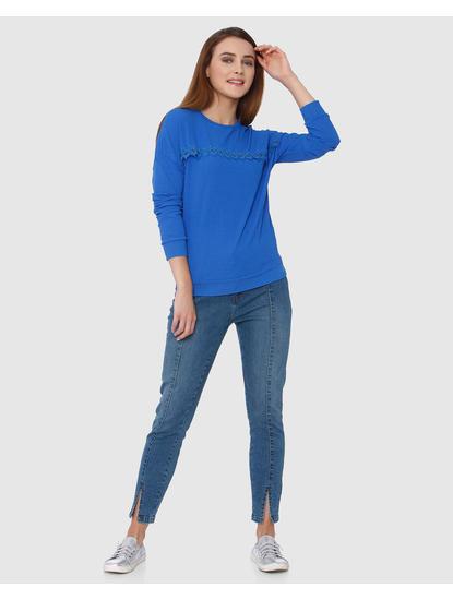 Blue Knit Long Sleeves T-shirt