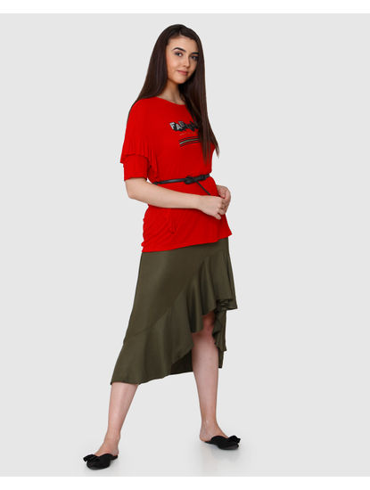 Red Text Print & Ruffle Sleeves T-Shirt