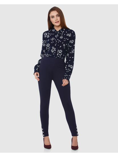 Navy Blue Normal Fit Leggings