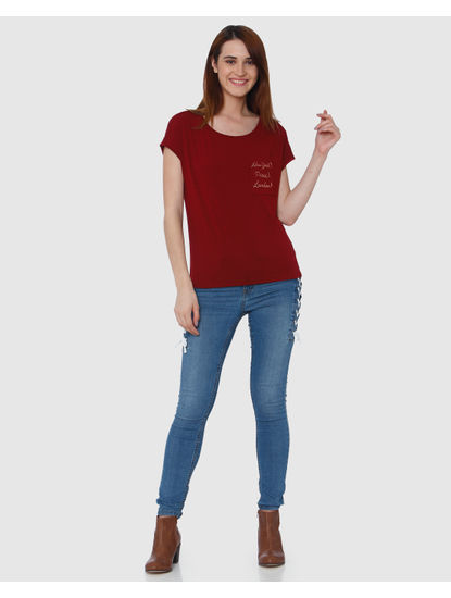 Red Front Pocket Text Print T-Shirt
