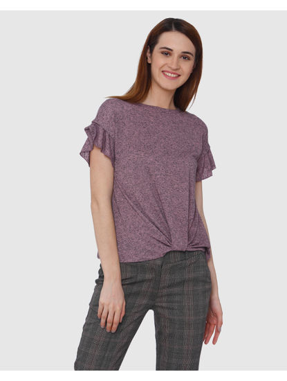 Pink Front Knot Frill Sleeves T-shirt